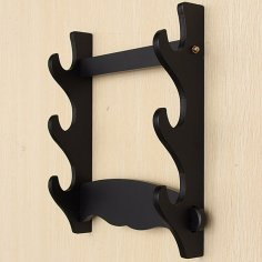 Laser Cut Katana Stand Wood Sword Stand Wall Mount Samurai Sword Holder Free Vector