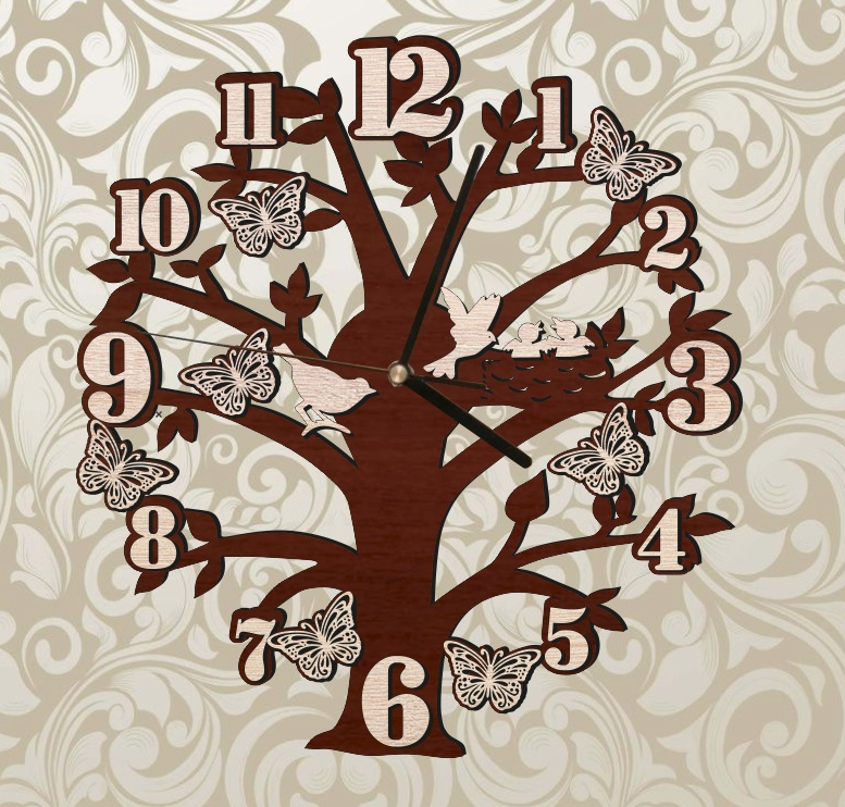 Laser Cut Tree Wall Clock With Birds And Butterflies Free Vector