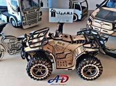 Laser Cut Wooden ATV Quad Bike Toy Free Vector