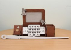Laser Cut Perpetual Calendar Desk Organizer With Photo Frame Phone Holder Free Vector