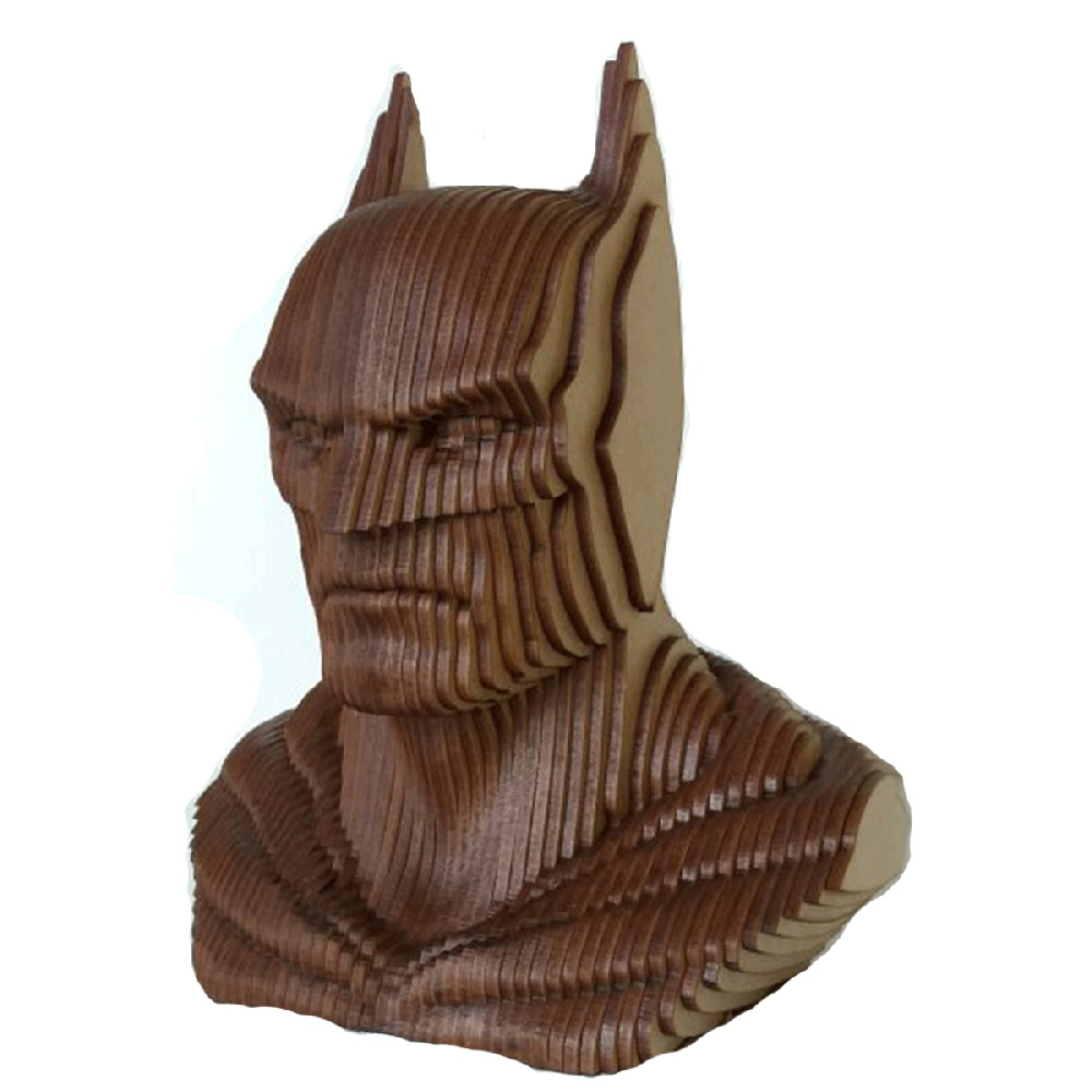 Laser Cut Batman Head Sculpture Wooden Art DXF File