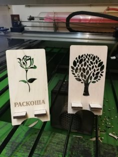 Laser Cut Wood Decor Tree Phone Stands Free Vector