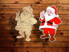 Laser Cut Engrave Santa Claus Christmas Decoration Free Vector