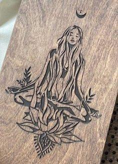 Laser Cut Engrave Zen Girl Book Cover DXF File