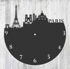 Paris France Vinyl Record Wall Clock Laser Cut Template Free Vector