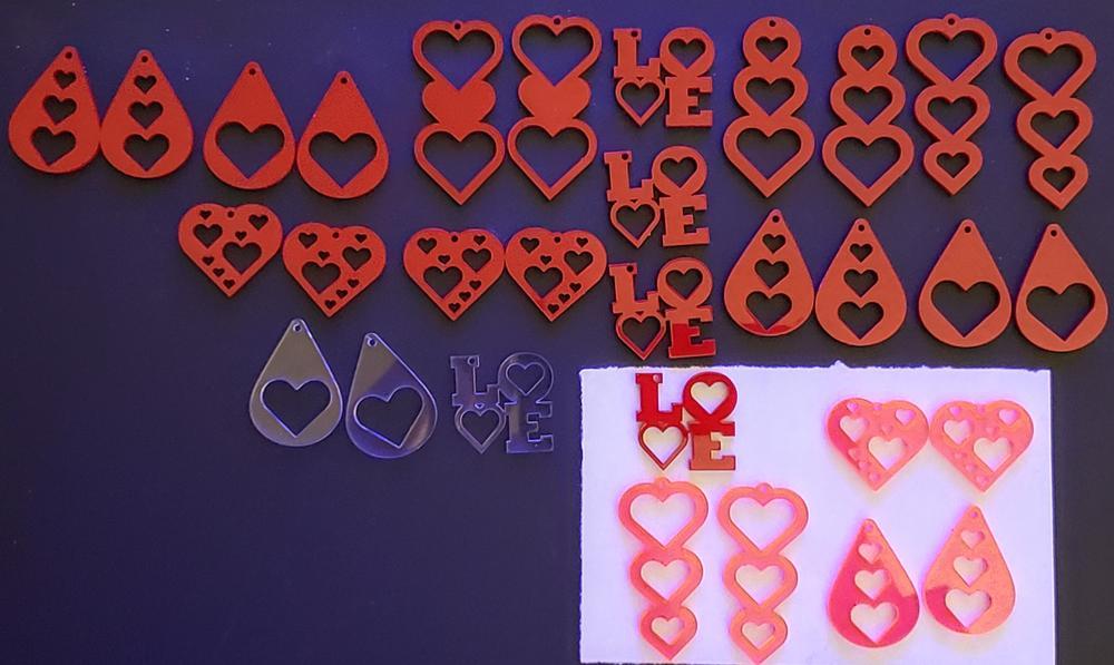 Laser Cut Valentines Earrings Template PDF File