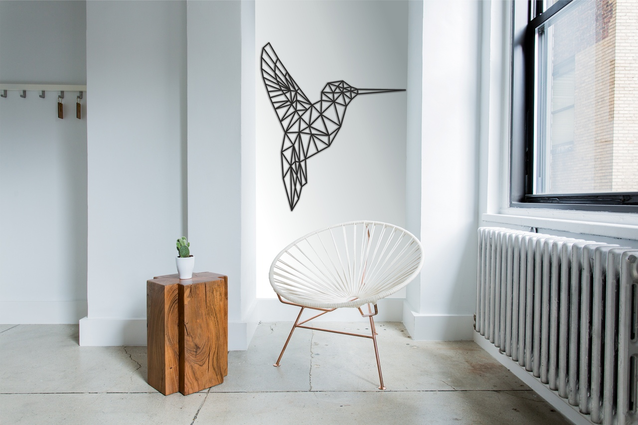 Laser Cut Hummingbird Polygonized Design Template DXF File