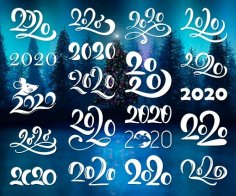 Hand Written Lettering Calligraphy Number 2020 DXF File