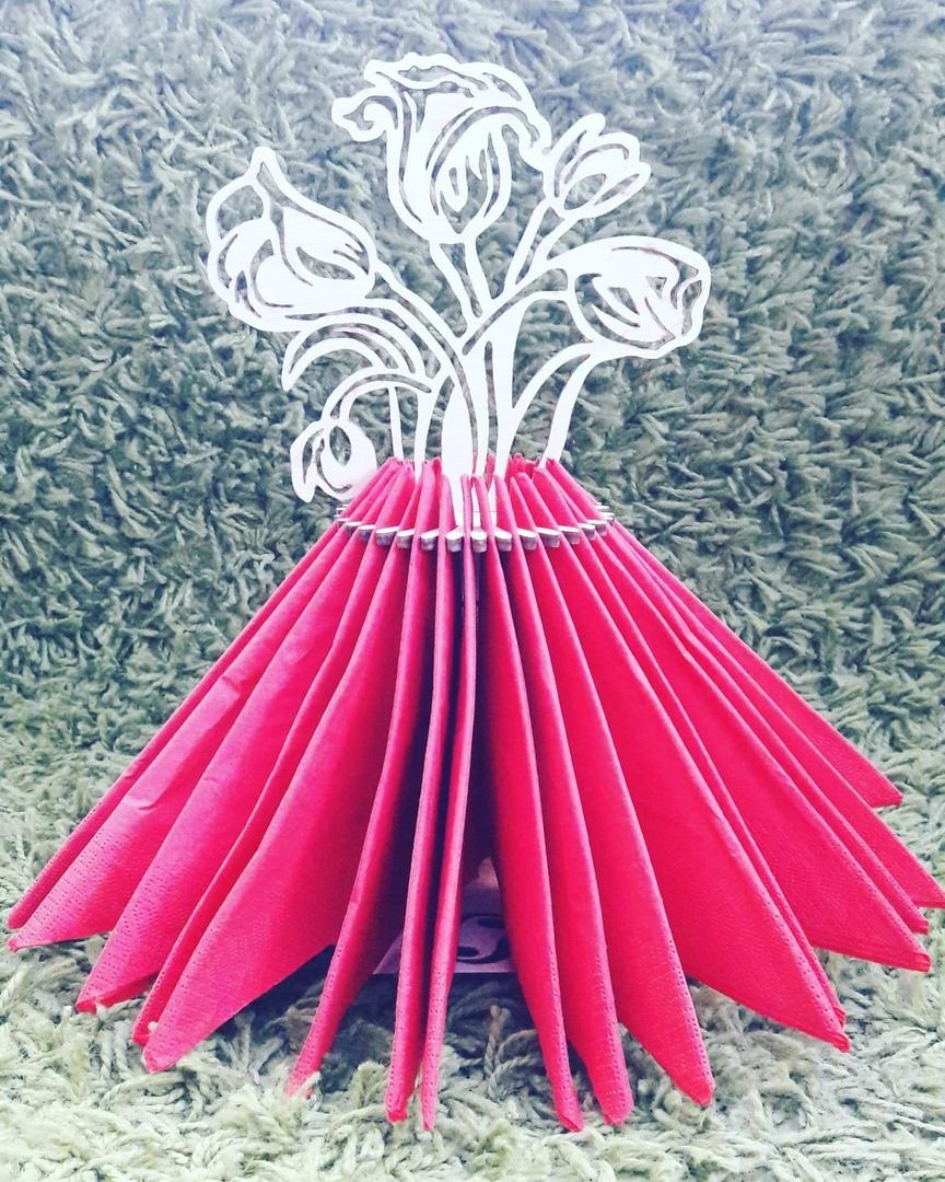 Laser Cut Flower Bouquet Napkin Holder Template Free Vector