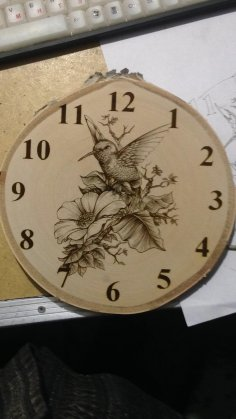 Laser Engraving Bird And Flowers Clock Template Free Vector