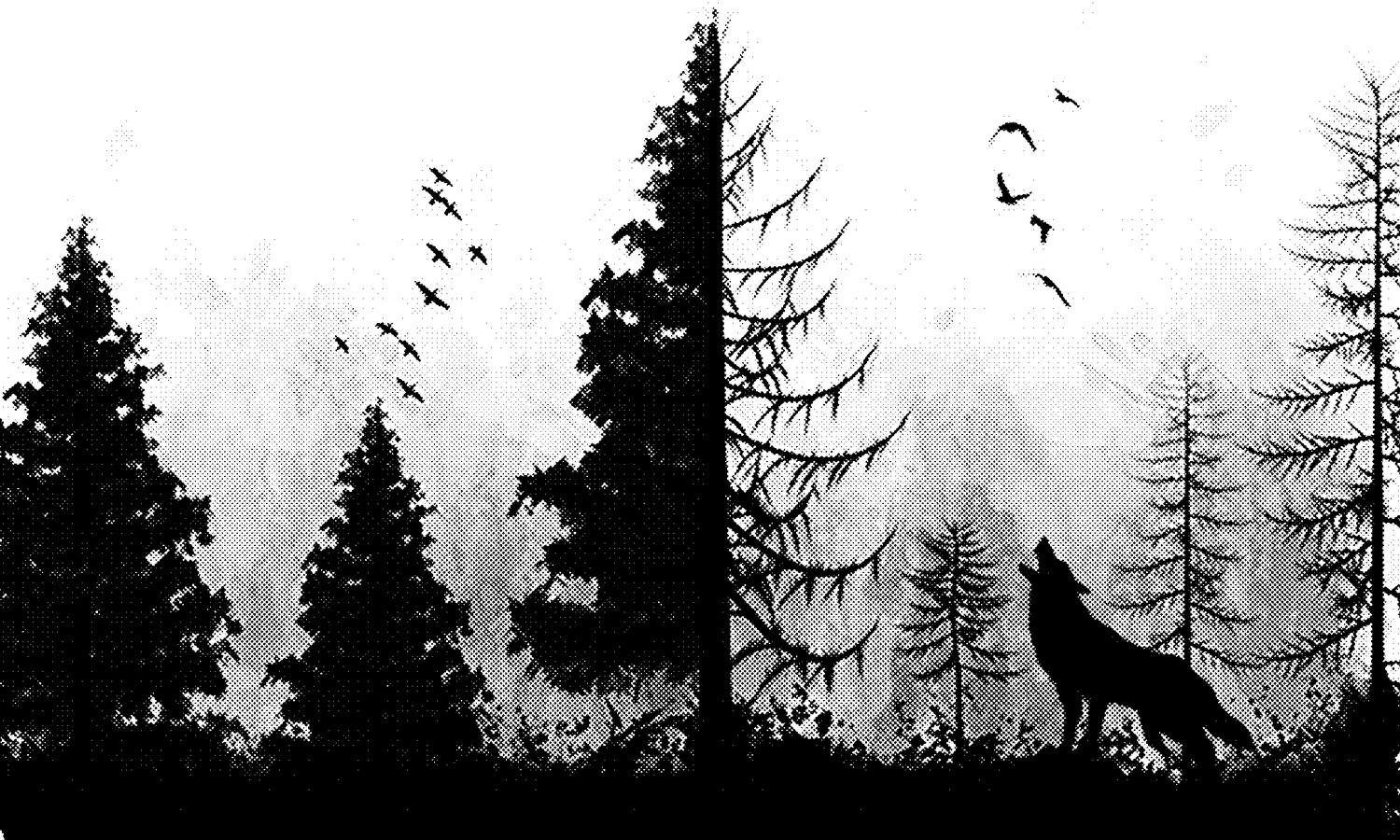 Wolf Howling in Trees Laser Engraving Template BMP File