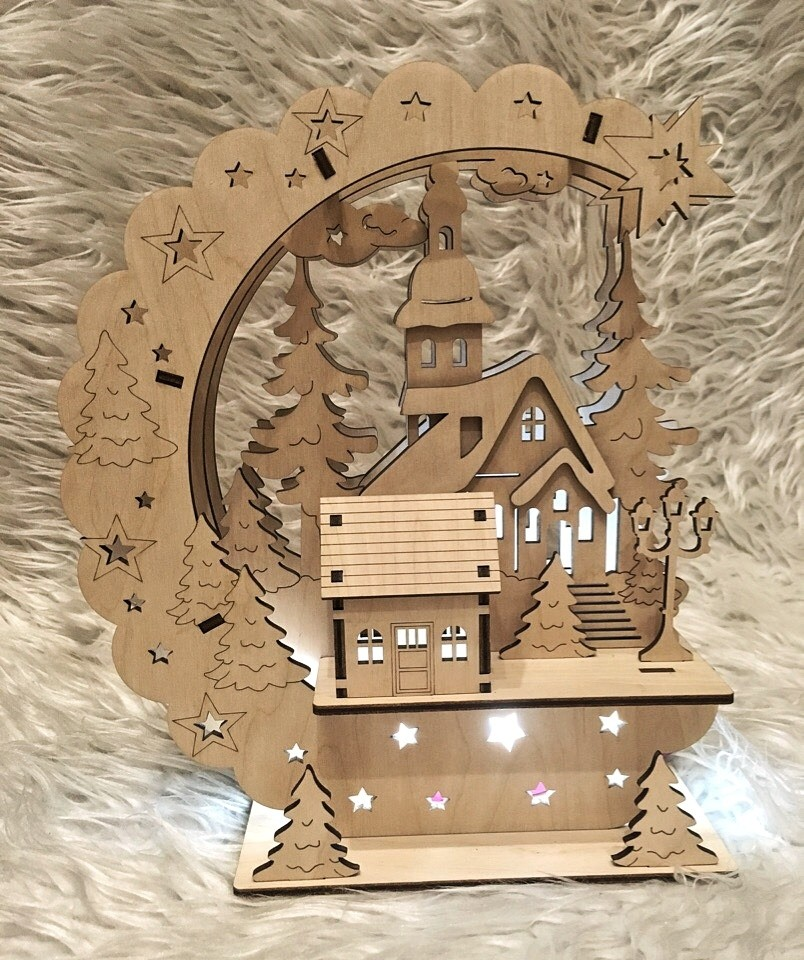 Laser Cut New Year Eve Lamp Template Free Vector