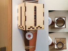 Laser Cut Wooden Cup Holder Template Free Vector