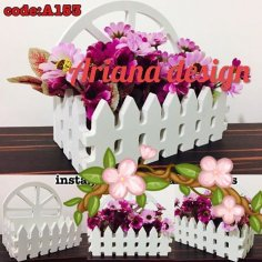 Laser Cut Flower Basket Free Vector