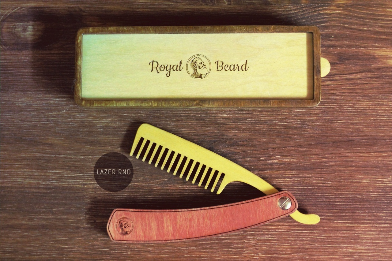 Laser Cut Folding Beard Comb Template with Box Free Vector
