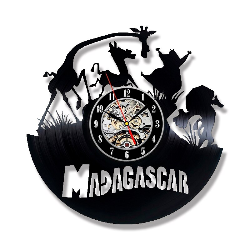 Laser Cut Madagascar Theme Vinyl Record Wall Clock Free Vector
