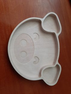 Laser Cut Pig Plate Wooden Animal Shaped Plate Free Vector