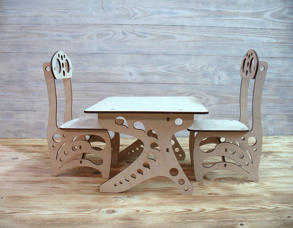 Laser Cut Chair And School Desk Free Vector