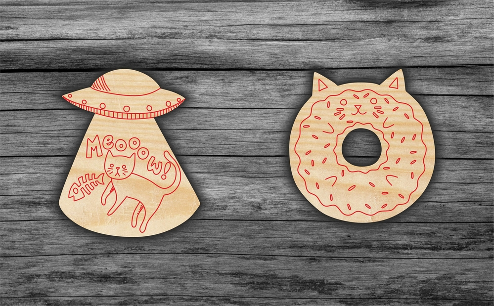 Laser Cut Cats Magnets Icons Free Vector