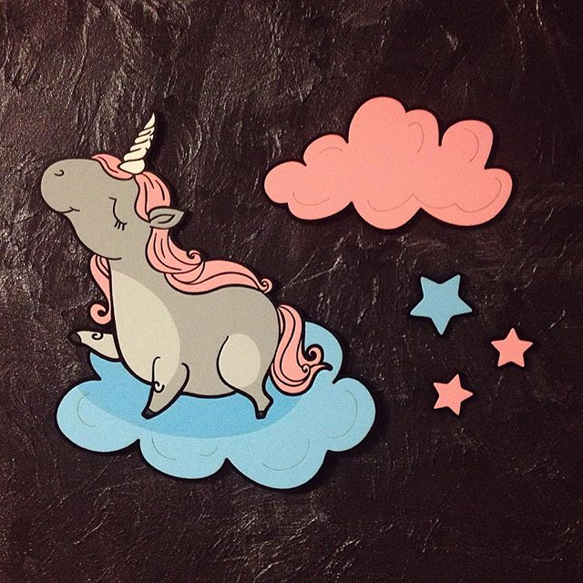 Unicorn Clouds Star Laser Cut Engraving Template Free Vector