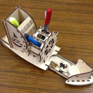 Laser Cut Ship Pen Holder Organizer Table Decor Free Vector
