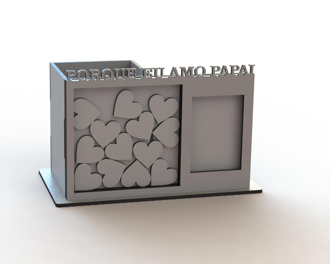 Laser Cut Pen Holder Organizer With Photo Frame Wish Box Free Vector