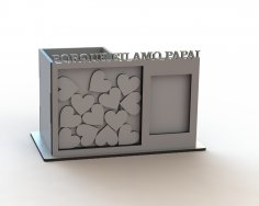 Laser Cut Pen Holder Organizer With Photo Frame Wish Box Free Vector