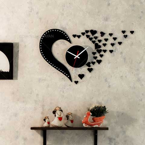Laser Cut Love Design Flying Hearts Wall Clock Free Vector