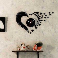 Laser Cut Love Design Flying Hearts Wall Clock Free Vector