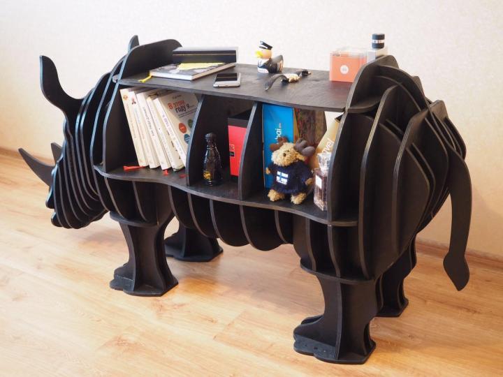 Laser Cut Rhino Shelf 8mm Free Vector