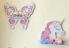 Laser Cut Wooden Shelves Butterfly Unicorn Shelf Free Vector