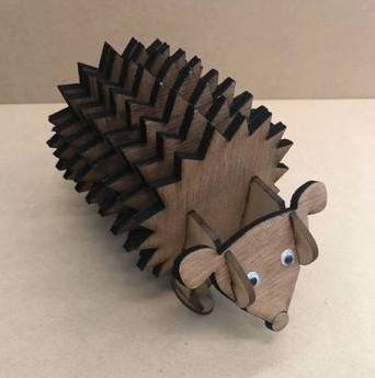 Hedgehog Plywood Coasters With Holder DXF File