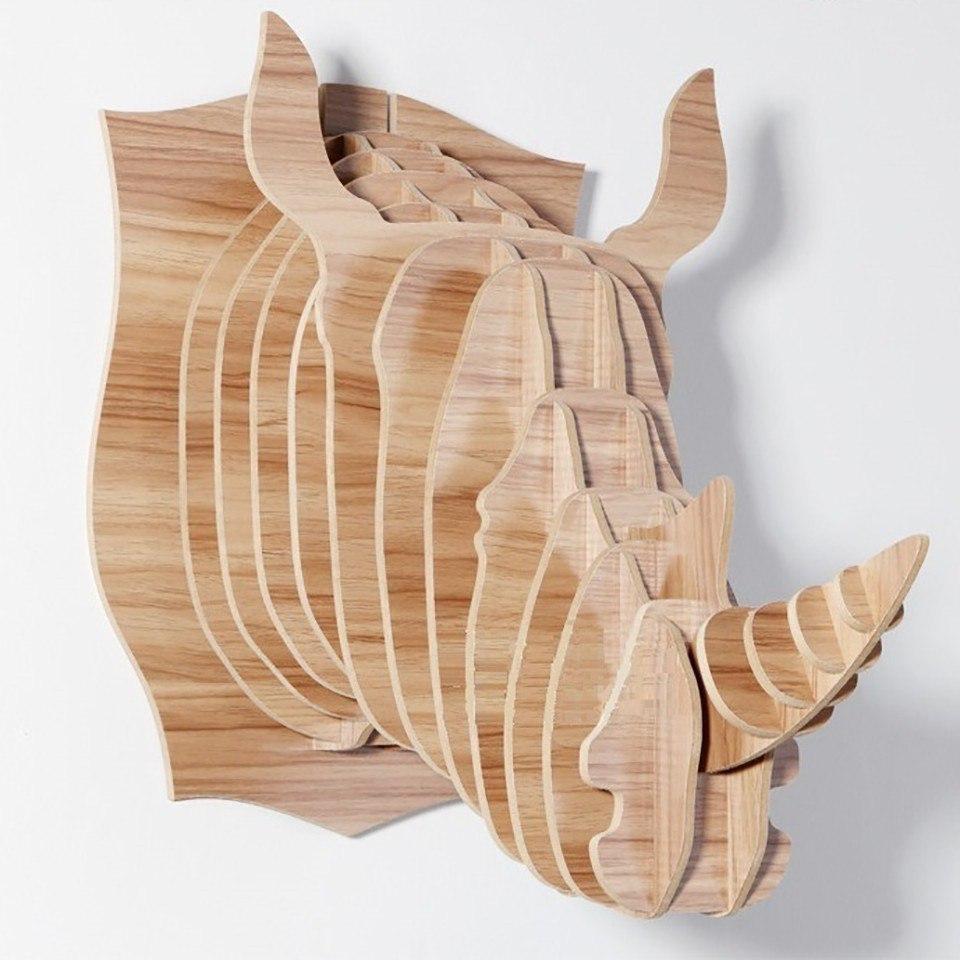 Laser Cut Rhino Head Trophy 3D Animal Head Free Vector