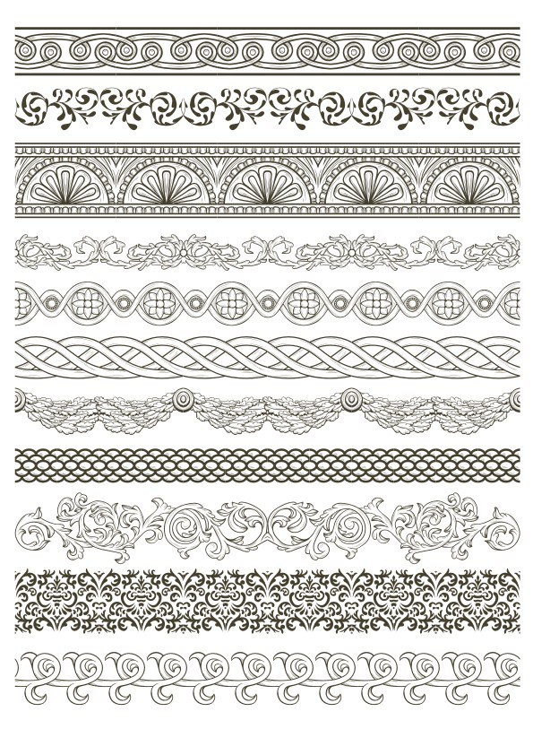 Lace Border Vector Pack Free Vector