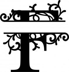 Split Monogram Letter F DXF File