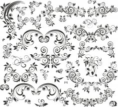 Floral Decorative Set Free Vector