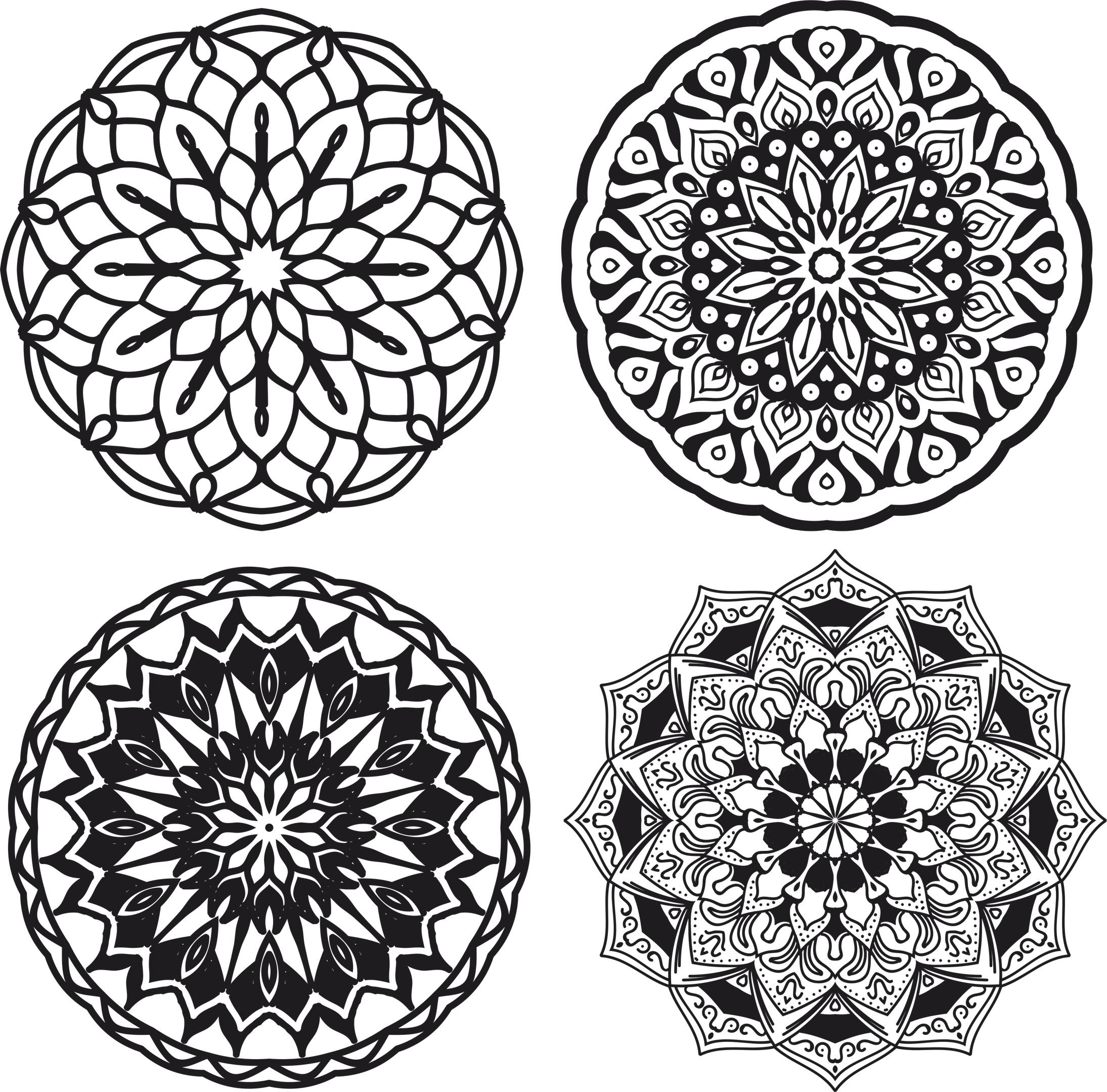 Mandalas Set Free Vector