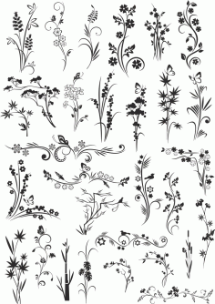 Flowers Vectors Decor Set Free Vector