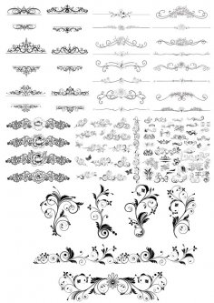 Vector Floral Decor Set Free Vector