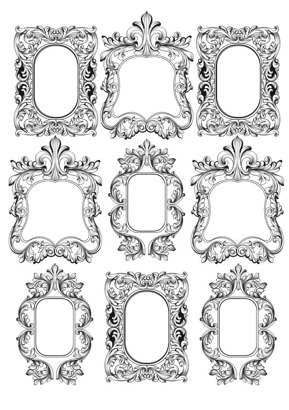 Gorgeous Baroque Frames Free Vector