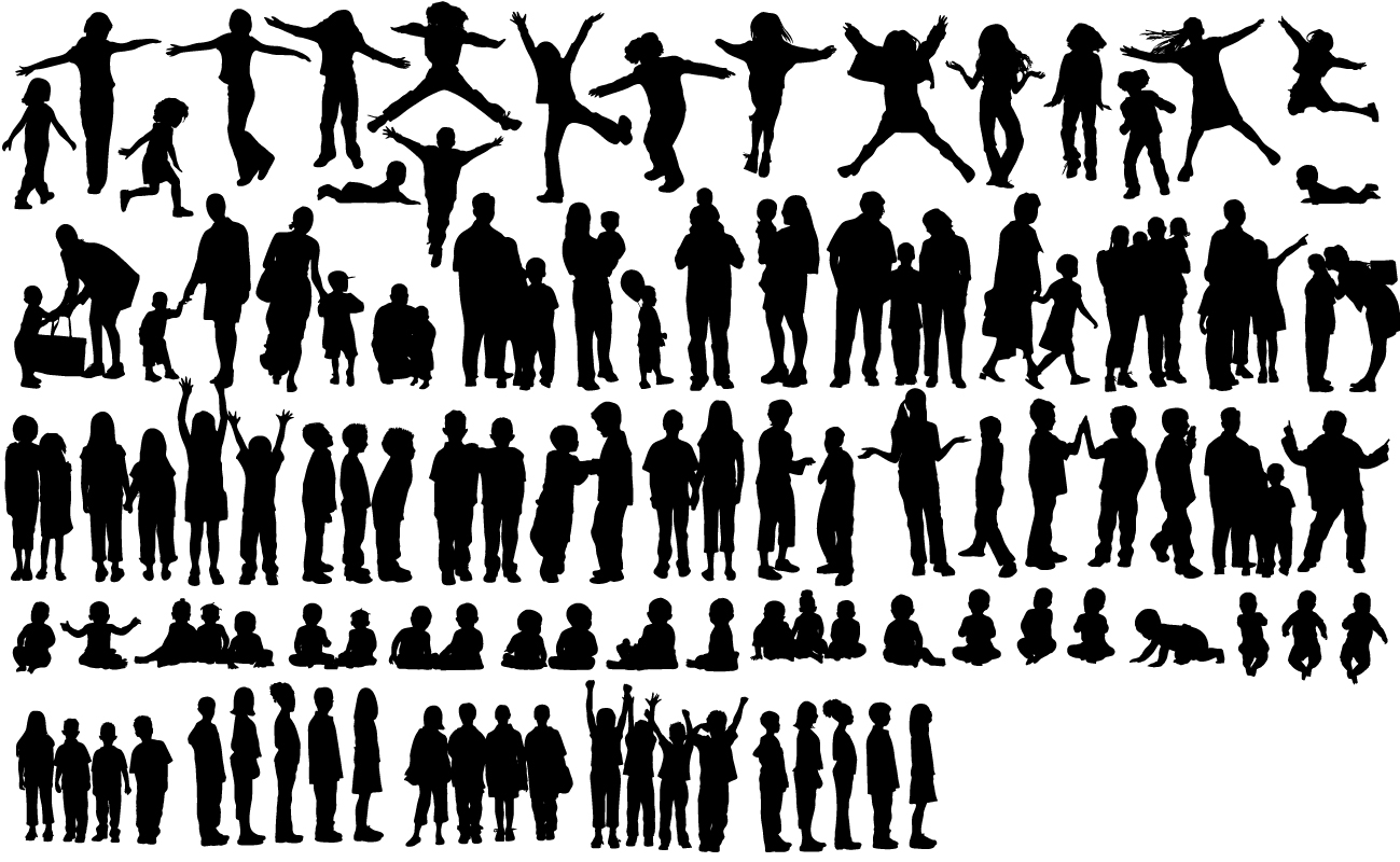 Silhouettes of Children Free Vector