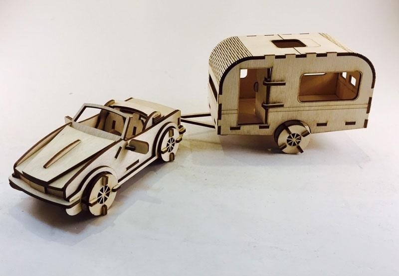 Laser Cut Caravan 3D Wooden Model Free Vector