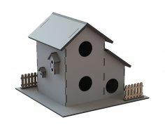 Laser Cut Wooden Bird House Birds Nest Box Free Vector