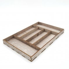 Laser Cut Wooden Rectangle Serving Tray With Compartments Free Vector