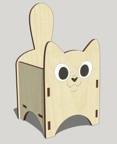 Laser Cut Hair Accessory Box Cat 3mm Free Vector