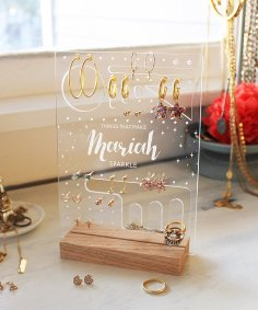 Laser Cut Personalized Earring Holder Jewelry Display Stand PDF File