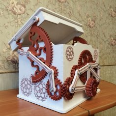 Laser Cut Mechanical Treasure Box Free Vector