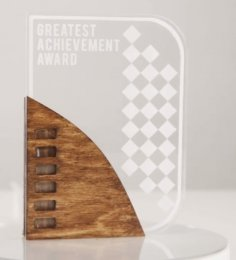 Laser Cut Acrylic & Wood Trophy DXF File