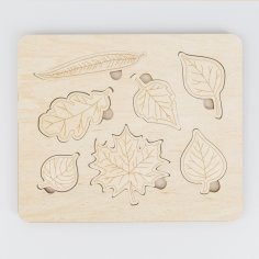 Laser Cut Montessori Leaf Puzzle Wooden Learning Toys For Kids Free Vector