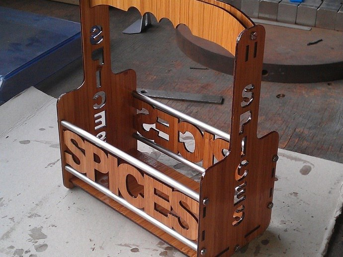 Laser Cut Spice Caddy With Handle Free Vector